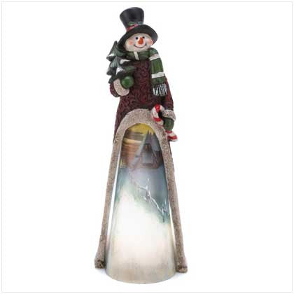 Light Up Scenic Snowman Statue