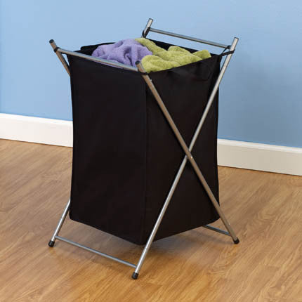 Silver X-Frame Laundry Hamper