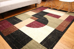 New Traditional Black Square Abstract Area Rugs