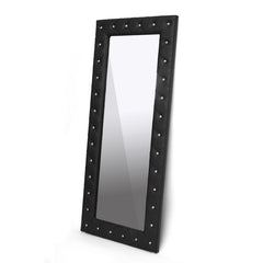 Baxton Studio Stella Crystal Tufted Black Floor Mirror
