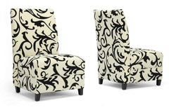 Baxton Studio Scripp Cream Microfiber Slipper Chair with Black Flocking
