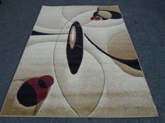 New Contemporary Brown and Beige Circles Area Rugs