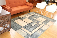 New Blocks and Squares Modern Wool Blend Area Rugs