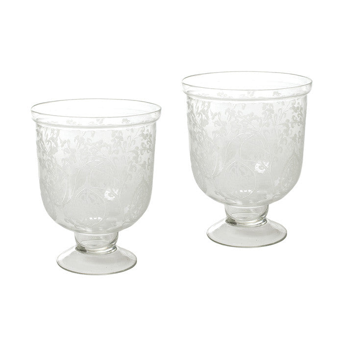 Small Antique Etched Hurricanes- Set Of 4
