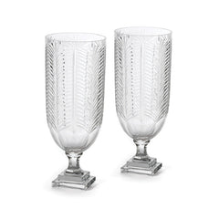 Pair of Fancy Glass Hurricanes