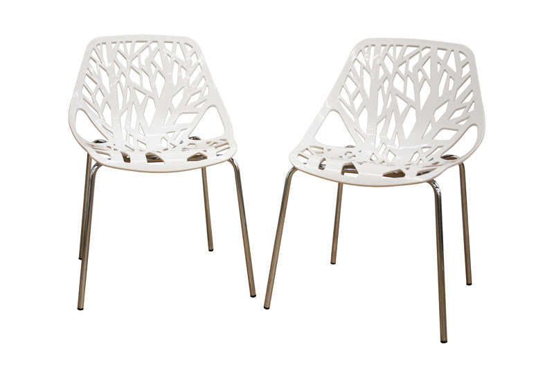 Baxton Studio Birch Sapling White Plastic Accent or Dining Chair in Set of 2