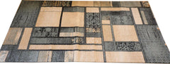 Anzy Contemporary Blue and Beige Modern Square Boxes Area Rug In Different Sizes
