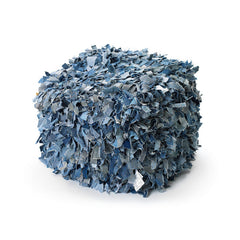 Recycled Jeans Shaggy Pouf
