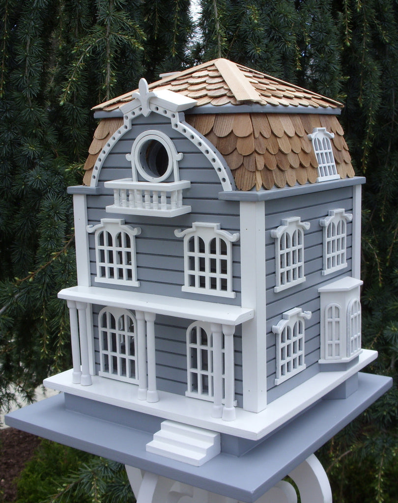 Sag Harbor Birdhouse - Blue with Mansard Roof