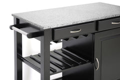Baxton Studio Phoenix Black Modern Kitchen Island with Granite Top