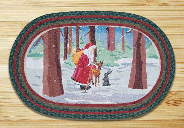 Father Christmas Oval Patch Rug