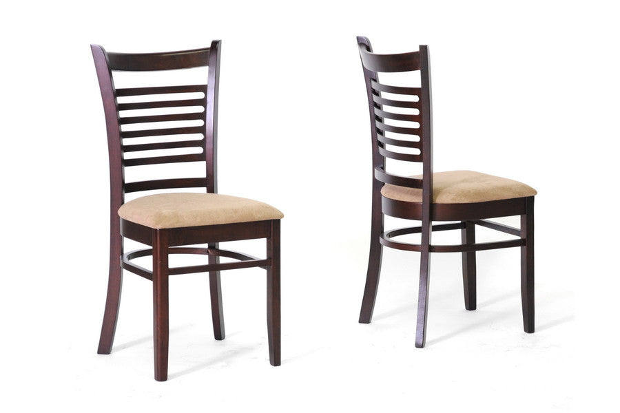 Baxton Studio Cathy Brown Wood Modern Dining Chair in Set of 2