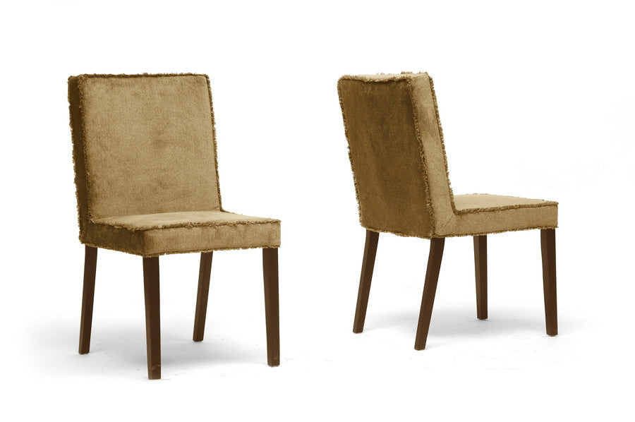 Baxton Studio Cuba Microfiber Modern Dining Chair in Set of 2