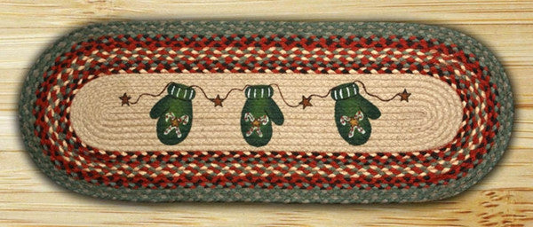 Candy Cane Mittens Oval Patch Runner