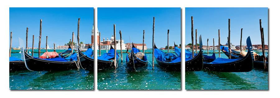 Gondola Fleet Mounted Photography Print Triptych