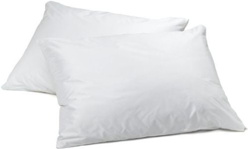 "TWO Zippered Vinyl Pillow Covers Bed Bug Protector, Hypoallergenic 21""x27"""