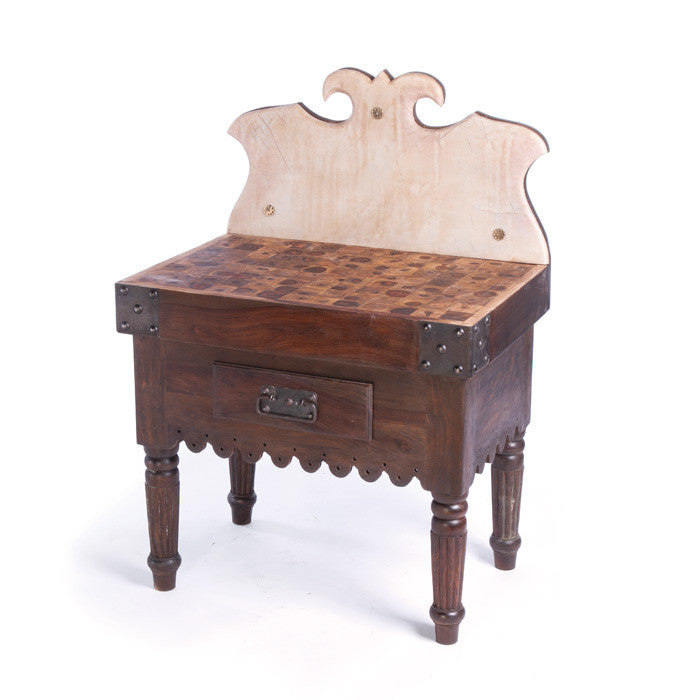 Wood & Marble Butchers Table