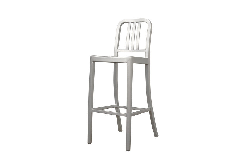Baxton Studio Modern Cafe Bar Stool in Brushed Aluminum
