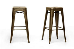 Baxton Studio French Industrial Modern Bar Stool (Set of 2)