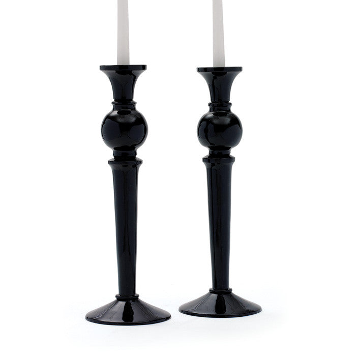Pair of Glass Fab Candlesticks