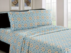 Luxurious Brushed Microfiber Mint Mosaic Pattern 4 Pc Sheet Set