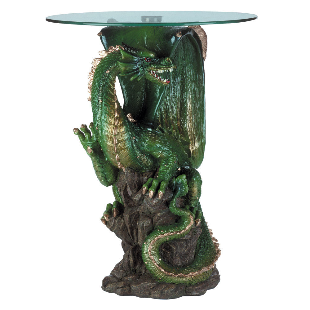 Dragon Accent Table With Glass Top