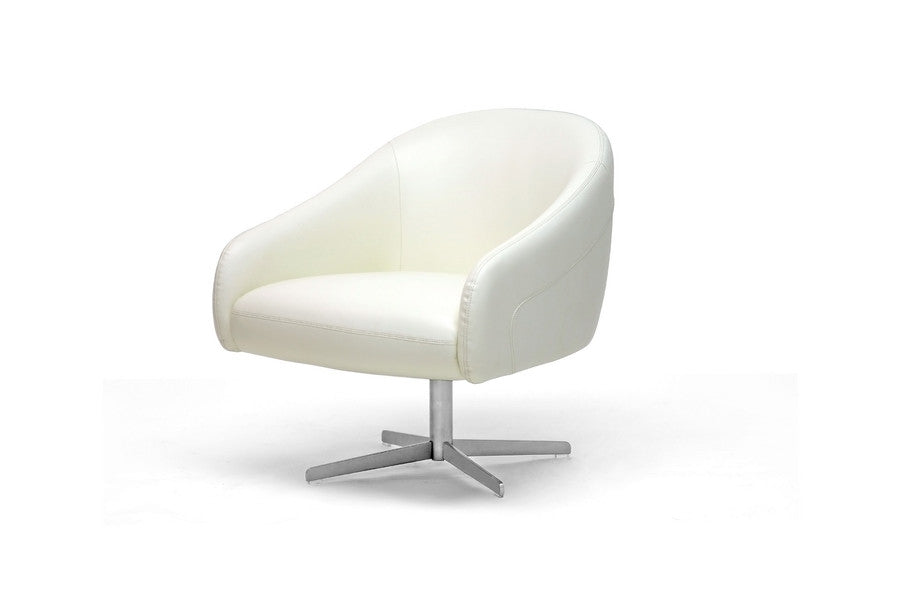 Baxton Studio Ivory Leather Swivel Chair