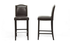 Baxton Studio Libra Bar Stool with Nail Head Trim in Set of 2