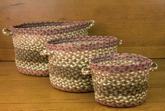 Olive/Burgundy/Gray Utility Baskets In Different Sizes