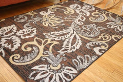 New Traditional Brown Floral Abstract Area Rugs