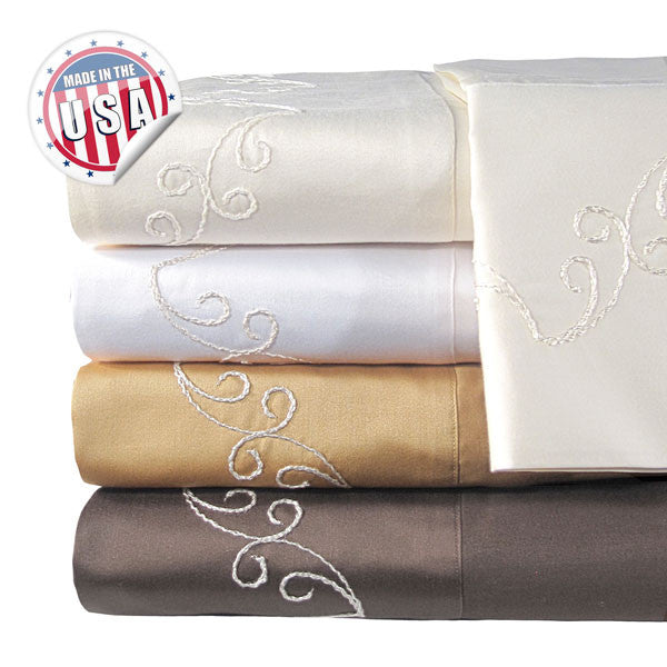 800TC QUEEN SCROLL SHEET SET IN WHITE