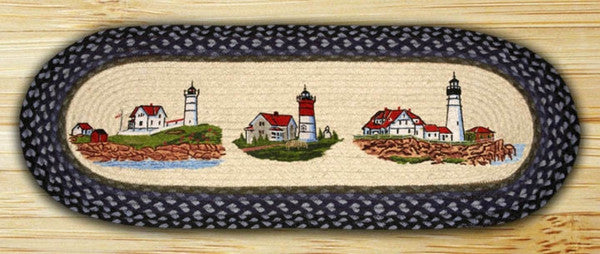 Three Lighthouses Oval Patch Runner