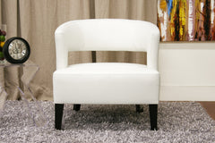 Baxton Studio Lemoray Off-White Leather Club Chair