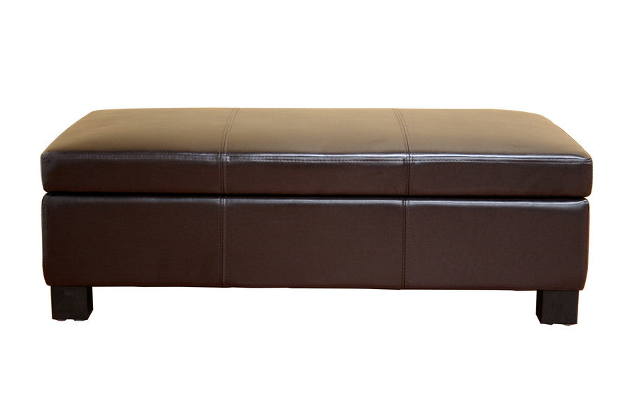 Baxton Studio Gallo Leather Storage Ottoman