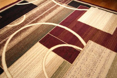 New Area Rug Burgundy Modern Squares Circles