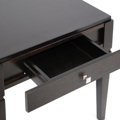 Baxton Studio Haley Black Wood End Table with Drawer
