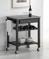 Baxton Studio Quebec Kitchen Cart with Granite Top