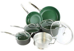 New ORGREENIC 10-Piece Anodized Green Non Stick Kitchen Cookware Set Pans Pots