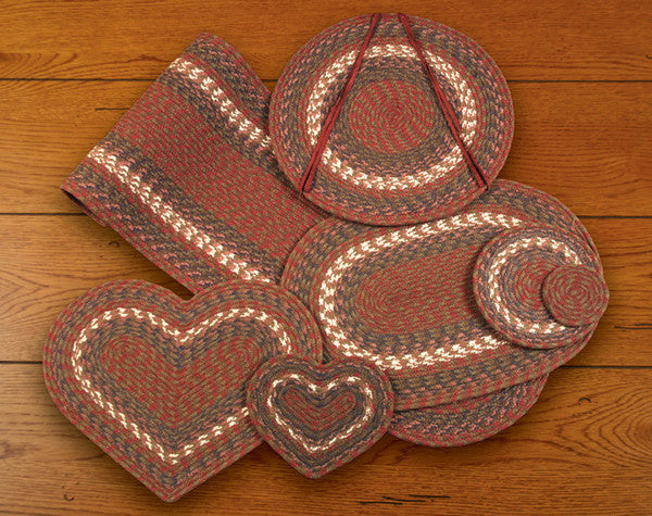 "Burgundy/Gray Table Accents  8""x7"" Heart Trivet"