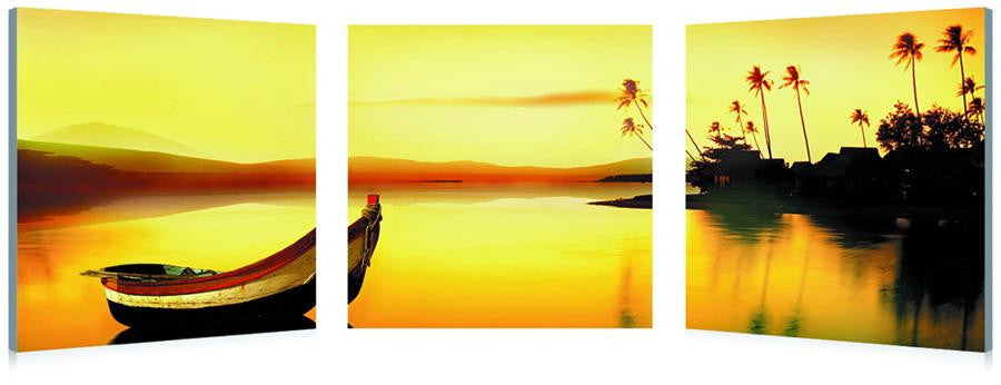 Golden Sunset Mounted Photography Print Triptych