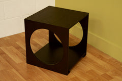Baxton Studio Round Cut Out Black Wood End Table