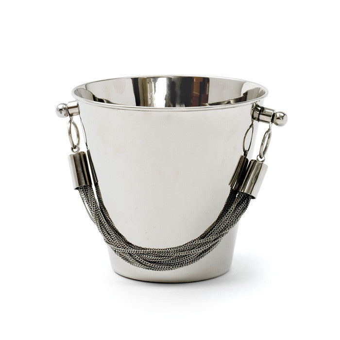 Nickel Polished Chained Ice Bucket