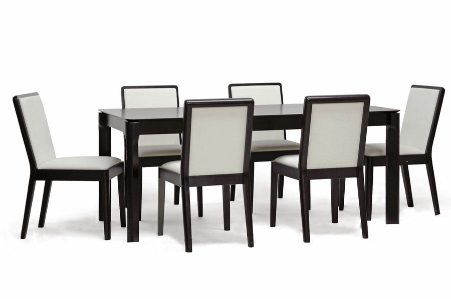 Baxton Studio Maeve 7-Piece Dark Brown Dining Set