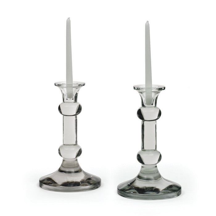 Pair Of Glass Knobbed Candlesticks