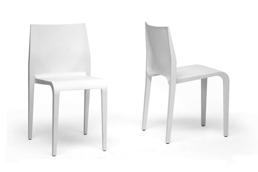 Baxton Studio Blanche White Molded Plastic Dining Chair Set of 2