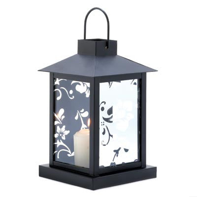 Mirrored Floral Candle Lantern