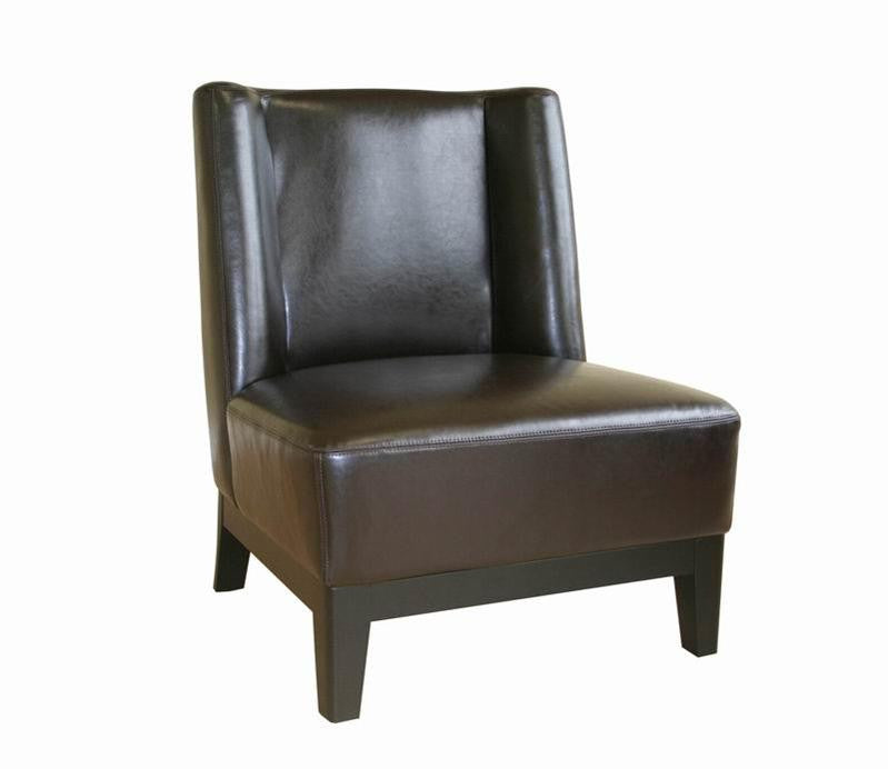 Baxton Studio Low-Slung Dark Brown Bycast Leather Chair