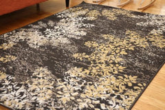 New Traditional Black Circle Floral Abstract Area Rug