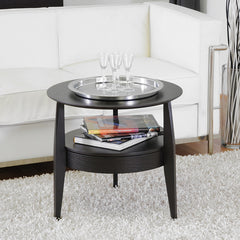 Baxton Studio Gretton Black End Table with Drawer
