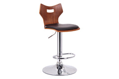 Baxton Studio Amery Walnut and Black Modern Bar Stool